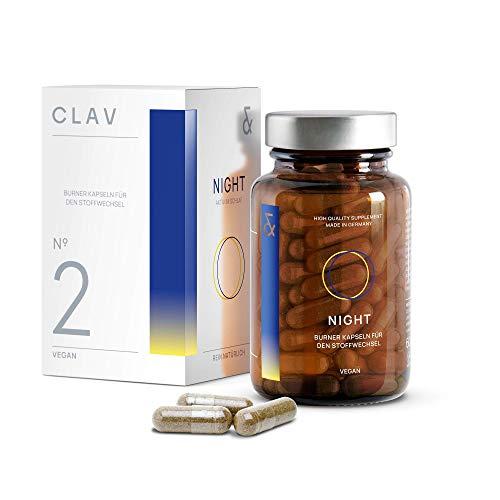 N°2 NIGHT Burner | Besser schlafen mit Melatonin-Vorstufe L-Tryptophan | Baldrian + Passionsblume + Melisse + Hopfen | Deckt den Tagesbedarf an Vitamin B12 & Folsäure | 60 Kapseln Vegan