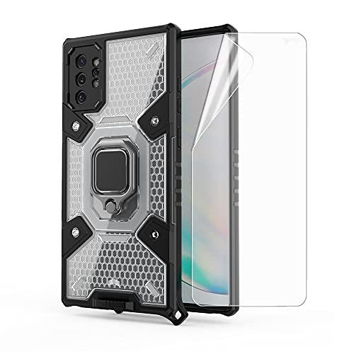 ZZHAO Funda para Samsung Galaxy Note 10 Plus, Funda Protectora de Grado Militar para teléfono con Soporte de Anillo de Metal Mejorado [Soporte magnético] con 1 Piezas Protector de Pantalla Soft TPU