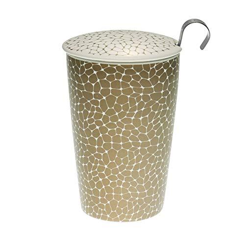 TEAEVE® Teetasse Becher mit Sieb und Deckel STONES PLATIN weiß gold Eigenart