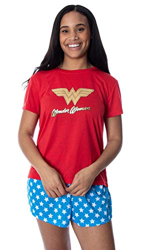 DC Comics Women's Wonder Woman Gold Foil Logo Shirt and Shorts Loungewear 2 Piece Pajama Set (Small)
