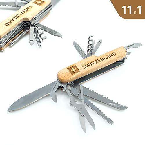 TopSpirit® zakmes Switzerland van hout - zakmes met 11 functies - 11 in 1 multifunctioneel gereedschap - multifunctioneel gereedschap Switzerland 9 cm