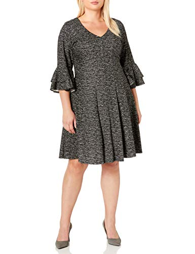 Gabby Skye Women's Plus Size 3/4 Tiered Sleeve V-Neck Knit Fit and Flare Dress, Black/Ivory, 16W (Apparel)