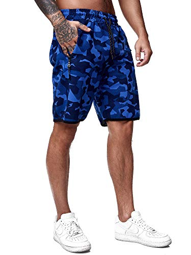 OneRedox Herren Jogging Hose Jogger Streetwear Camouflage Sporthose Fitness Clubwear Modell 3622 Blau M