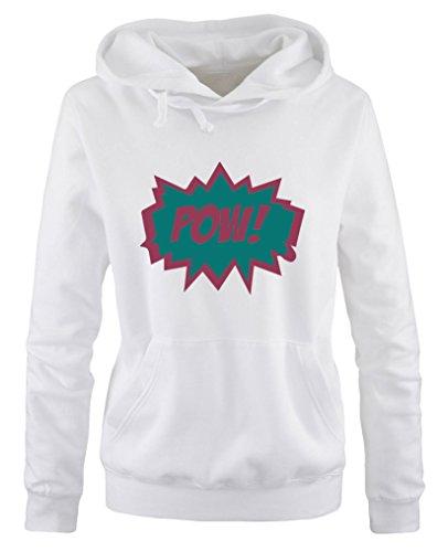 Comedy Shirts - POW! Comic - Sweat à capuche pour femme - Capuche kangourou - Manches longues - Blanc - M