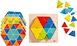 HABA Arranging Game Magical Pyramids - 36 Triangular Wooden Tiles with 6 Double Sided Templates for ages 2-6 (Made in Germany)