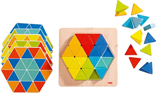 HABA 301703 - Legespiel Zauberdreiecke   Mit 36 Dreicken und 6 doppelseitig bedruckten Vorlagenblättern   Fördert Kreativität und Feinmotorik