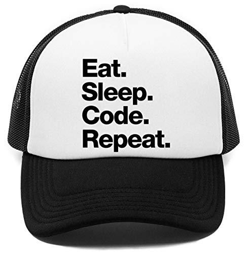 Eat Sleep Code Repeat Kappe Baseball Rapper Cap