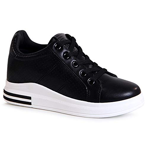 topschuhe24 Mujer Zapatillas De Deporte, Color:Negro 1770, Número de Zapato:37 EU