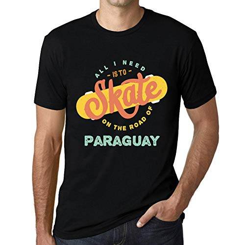 Hombre Camiseta Vintage T-shirt Gráfico On The Road Of Paraguay Negro Profundo