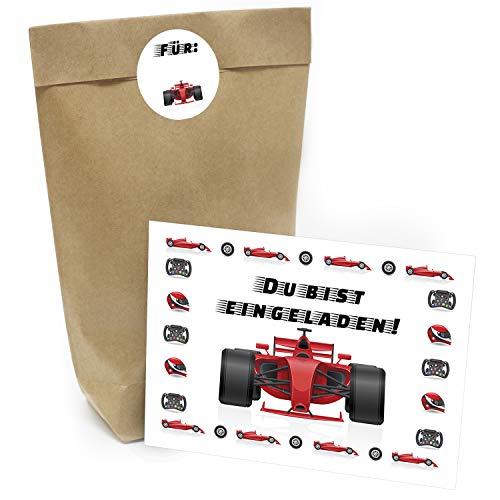 Praktisches Kindergeburtstag Set mit 16 Geschenktüten (Party-Tüten), Einladungskarten und Aufklebern Motiv: Rotes Rennauto/Kart fahren
