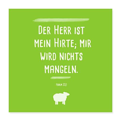 Spreadshirt Psalm 23 Der Herr Ist Mein Hirte Poster 40x40 cm, Weiß
