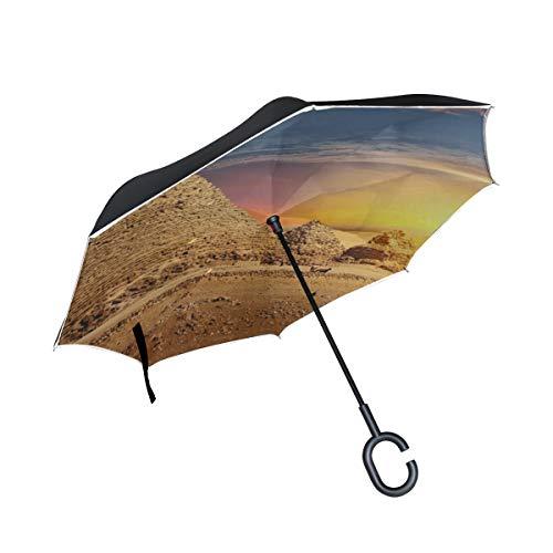 Silla de sombrilla Plegable Invertida de Doble Capa Paraguas de pirámide egipcia Antigua magnífica