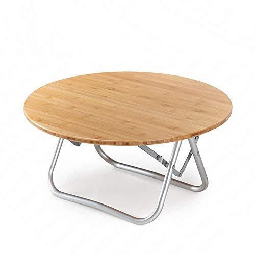 LSS Tragbarer zusammenklappbarer runder Tisch aus Bambus, Tisch mit gebogenen Beinen aus Aluminium, rostfreier Bambus, einfacher Kleiner runder Campingtisch