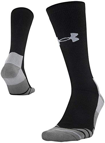 Under Armour Adult Hitch Rugged Boot Socks, 1-Pair , Black/Steel , Shoe Size: Mens 8-12, Womens 9-12