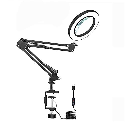 LED Magnifying Glass Desk Lamp with Clamp ,3 Color Modes 10 Levels Dimmable Adjustable Swivel Arm for Reading Rework Craft Workbench