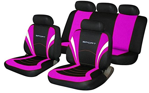 Amica Universal SPORTS Fabric Car Seat Covers BLACK & PINK