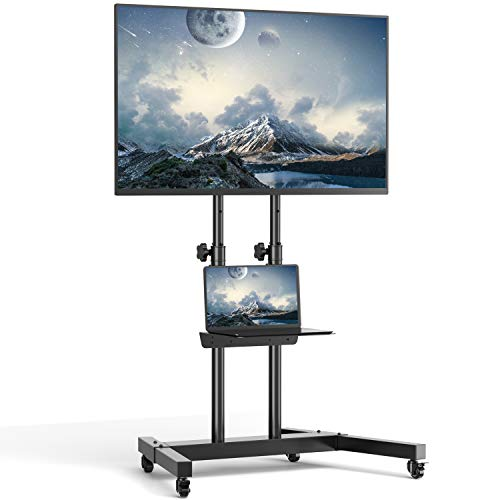TVON Rolling TV Mount Stand on Wheels for 32-65 Inch Flat Screen TVs, Mobile Cart with Height Adjustable Metal Shelf, Bracket Holds up to 110 lbs LED LCD OLED Plasma ,Max VESA 600x400mm
