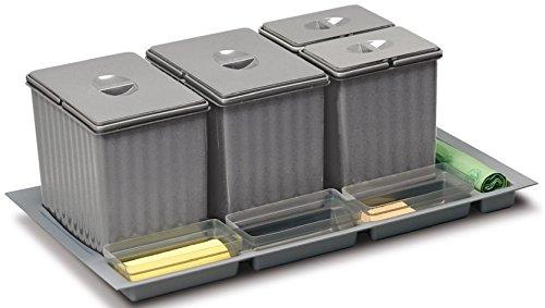Cubo de Basura para cajón extraíble bajo Fregadero de la Cocina,90 cm, 4Cubos de 30cm de Altura, para Recogida selectiva, cód. 902