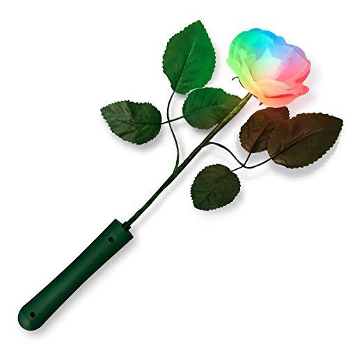 Color Changing Light Up Rose with White Petals (Set of 12) Silk Flower Arrangements