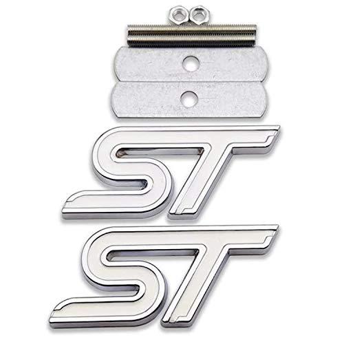 HAOXUAN 1 x 3D Metal ST Logo Emblema de Rejilla Delantera + 1x Pegatina 3D Calcomanía de Carreras Sport Turbo Insignia Apto para Ford Focus Fiesta Edge,Plata