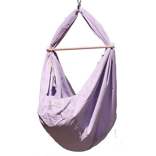 SCHMUSEWOLKE Federwiege Babyhängematte Babywiege Reisebett   Baumwolle mit Schafwollmatratze   Ab der Geburt bis 3 Jahre   bis 18 kg   3 Sets Deckenbefestigung   Pastell Lavender