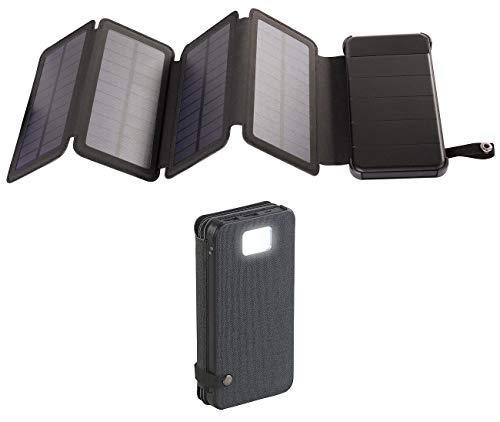 reVolt Ladegerät Solar: Solar-Powerbank, faltbares Solarpanel, LED-Lampe, 8.000 mAh, 2,1 A, 5W (Solarladegerät für Handy)