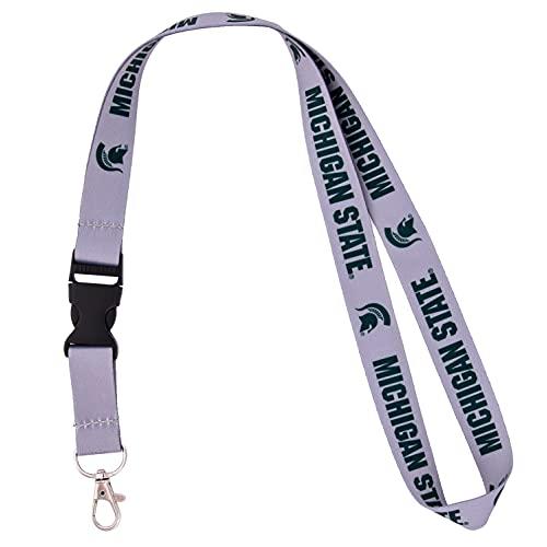 Michigan State University Spartans MSU Go Green Car Keys ID Badge Holder Lanyard Keychain Detachable Breakaway Snap Buckle (Gray)