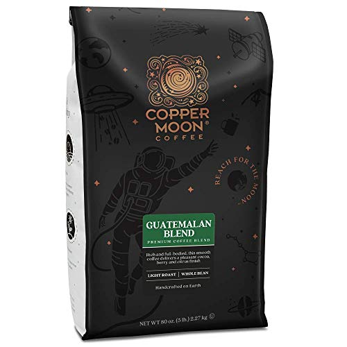 Copper Moon Guatemalan, Whole Bean Coffee, 5 Pound Bag, Light Roast Coffee from Guatemala, Rich, Smooth, and Mild, with A Nutty Finish