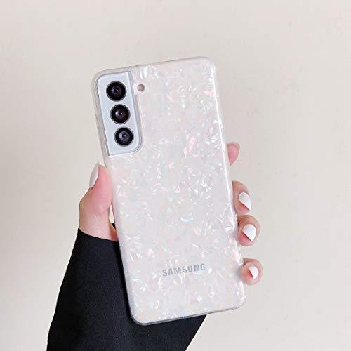 DEFBSC Schutzhülle für Samsung Galaxy S21 5G, Muschel-Marmor-Muster, weiches Gel, Silikon, TPU, stoßfest, kratzfest, Blau