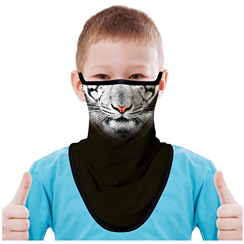 FMDAN Kids Neck Gaiter Face Mask with Ear Loops Bandana Face Mask for Boys Girls (Tiger Multicolored 200109)