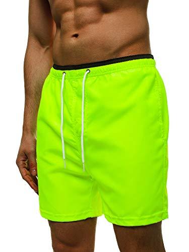 OZONEE Herren Badehose Badeshorts Eng Lang Shorts Sporthose Jogginghose Kurz Laufshorts Sport Sportshorts Trainingshose Schwimmhose Sweatshorts Freizeithose Hose 777/7145S-2 GELB-NEON XL