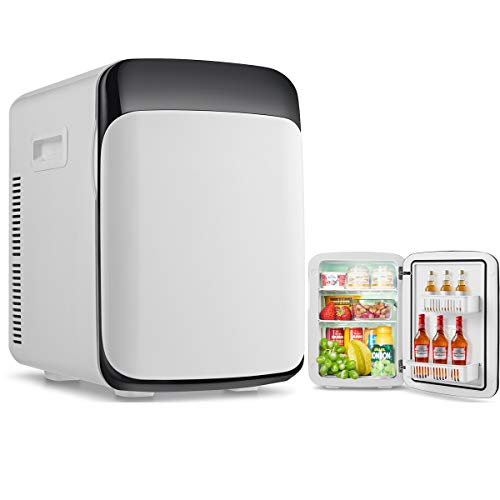 RELAX4LIFE 15L Mini Kühlschrank, elektrischer Kühlschrank mit Kühl- & Heizfunktion, Minibar einstellbare Temperatur -3 °C-50 °C, Getränkekühler tragbar für Auto und Zuhause, 33 x 28 x 39 cm, weiß