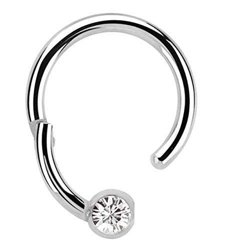 Modern Nature Piercing-Schmuck Lippenpiercing 316l Stahl Ring BCR, Clicker 1,2 x 8 mm mit 4 mm Steinplatte in klar