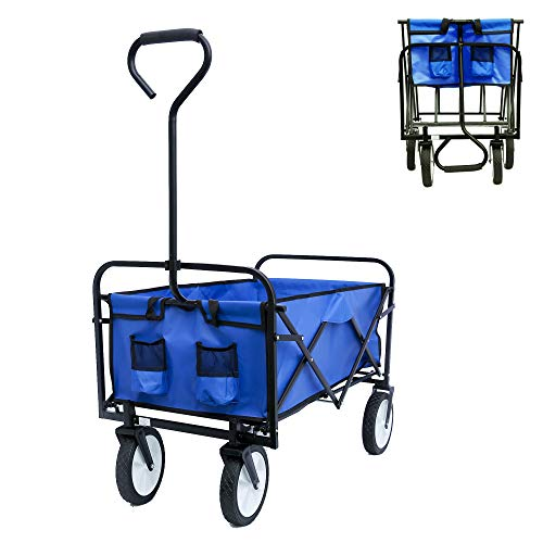 STERXONE Best Outdoor Collapsible Utility Wagon with Wheels Heavy Duty, Folding Utility Wagon Cart with Drink Holder and Rubber Wheels for Beach, Garden, Sports, Camping, Adjustable Handle (Blue)
