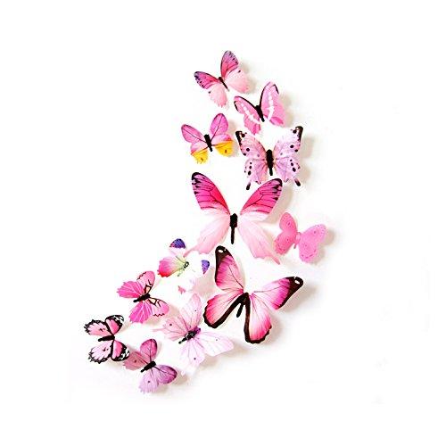 Oblique-Unique® Deko Schmetterlinge 12er Set - wunderschöne farbenfrohe Dekoration - Wandtattoo (Rosa)