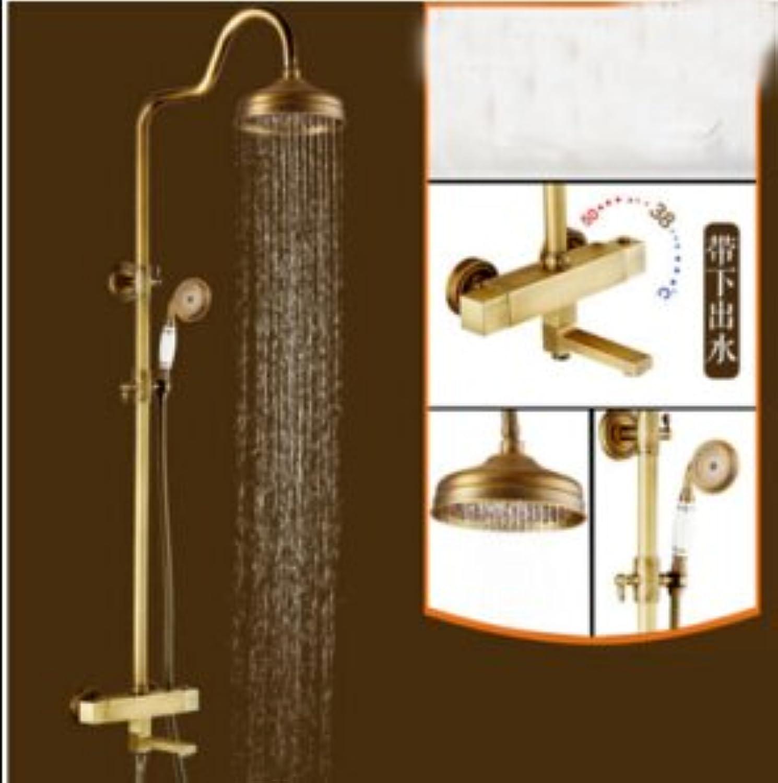 Galvanik Retro Wasserhahn Thermostatventil Mixer Messing antik Dusche Wasserhahn Whirlpool Auswurfkrümmer Hand Dusche Mischbatterie, 03.