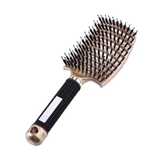 Cepillo de Pelo, Antitirones Peine de Cerdas de Jabali, Cepillo pelo rizado Masaje, Cepillo de cerdas de nailon para desenredar, Apto para todo tipo de cabello facilitar el Encrespamiento y la Rotura