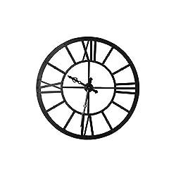 Creative Co-op Round Metal Wall Clocks, Black