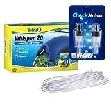 Whisper Tetra 20 Aquarium Air Pump (UL), Check Valve & Python Airline Tubing Bundle