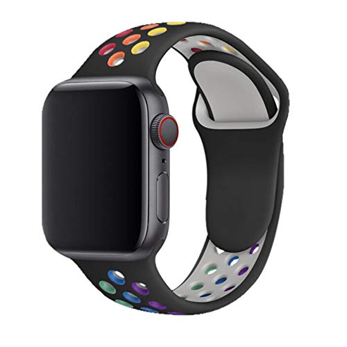 Correa de silicona para Apple Watch Band 44mm 40mm 42mm 38mm Pulsera deportiva transpirable Smartwatch para IWatch Serie5 4 3 SE 6-rainbow-black, para 38 o 40 Mm