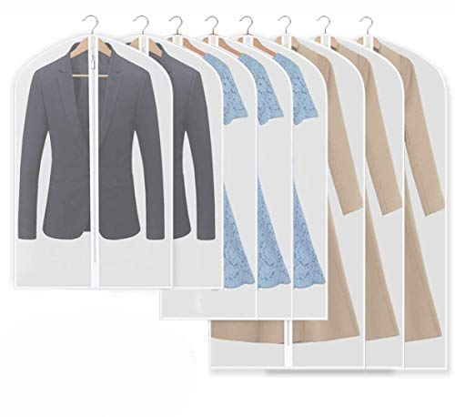 iToncs Kleidersack (8 Stück), Staubdichte Anzugstaschen Transparent (120 x 60 cm + 100 x 60 cm + 80 x 60 cm), Kleidersack für Anzüge Kleider Mäntel Sakkos Hemden Abendkleider Anzugsack Aufbewahrung