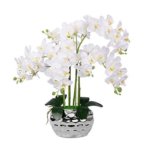 Planta de orquídea artificial Flor de orquídea falsa Phalaenopsis artificial blanca Orquídeas de seda grandes con maceta de cerámica plateada para la decoración del hogar Centro de mesa