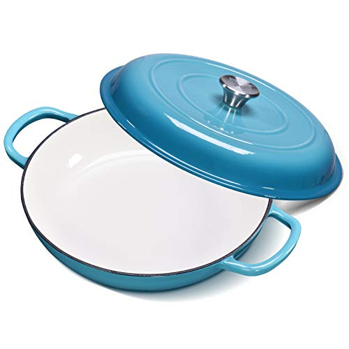 CSK 4 Quart Cast-Iron Braiser with Stainless Steel Knob-Heavy Duty Casserole Skillet with Loop Handle, Porcelain Enameled Surface, No Seasoning Require, Heating Resistant, Dishwasher Safe, Blue.