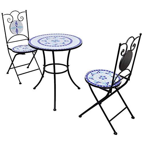 Wakects Juego de bistró, mesa de mosaico con 2 sillas, juego de muebles de jardín, juego de mesa y sillas de jardín exterior, balcón de baldosas de cerámica, azul y blanco