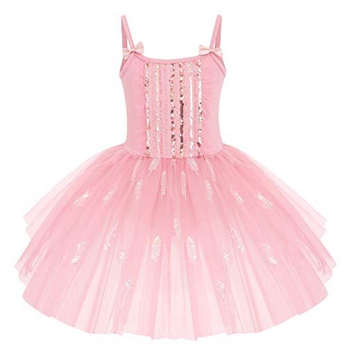 OBEEII Niña Vestido de Ballet Maillot de Danza Baile Gimnasia Leotards Tutú Tulle Dress Sin Mangas con Falda