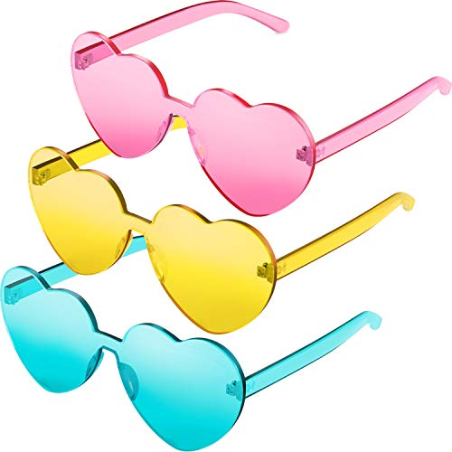 3 Pieces Heart Shape Sunglasses Rimless Sunglasses for Valentine Mardi Gras Summer Party (Pink, Yellow, Blue)