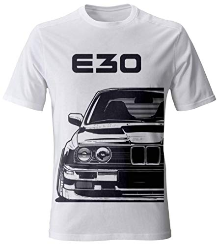E30 M3 Motorsport T-Shirt - - Tuning Drift Old School (L, Weiß)