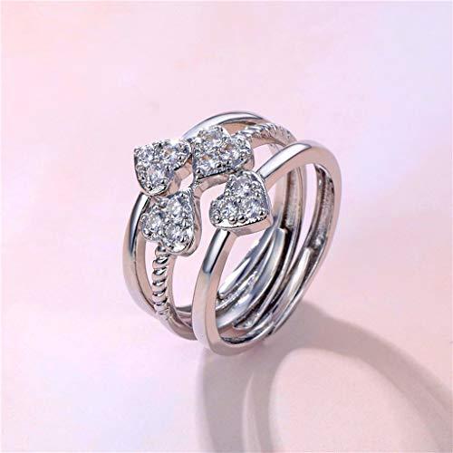 CADANIA Anillo, Mujeres Love Heart Trébol de la Suerte de Cuatro Hojas con Diamantes de imitación Anillo 3 en 1 Lucky Jewelry-C