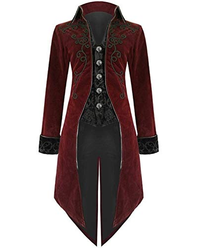 Halloween Steampunk Tailcoat Costume for Men, Medieval Renaissance Gothic Victorian Jacket Frock Coat (XL, Red)