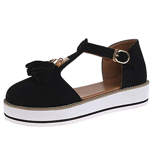 SaraIris Comfortable Flatform T-Strap Walking Sneakers for Women Casual Cutout Slip on Loafers Sandals Fashion Tassel Mary Jane Shoes Black